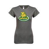 Ladies Softstyle Junior Fitted Charcoal Tee-MSSU Lions w/Lion Head On Top