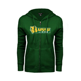 ENZA Ladies Dark Green Fleece Full Zip Hoodie-MSSU Lions w/Lion Head