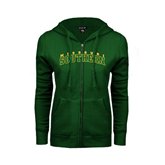 ENZA Ladies Dark Green Fleece Full Zip Hoodie-Arched Missouri Southern