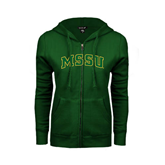 ENZA Ladies Dark Green Fleece Full Zip Hoodie-Arched MSSU