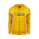ENZA Ladies Gold Fleece Full Zip Hoodie-MSSU Lions w/Lion Head