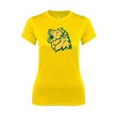 Ladies Syntrel Performance Gold Tee-Lion Head