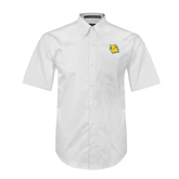 White Twill Button Down Short Sleeve-Lion Head