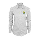 Ladies White Twill Button Down Long Sleeve-MSSU Lions w/Lion Head On Top