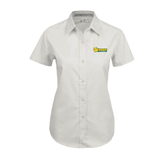 Ladies White Twill Button Up Short Sleeve-MSSU Lions w/Lion Head