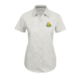 Ladies White Twill Button Up Short Sleeve-MSSU Lions w/Lion Head On Top