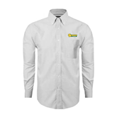 Mens White Oxford Long Sleeve Shirt-MSSU Lions w/Lion Head