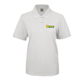 Ladies Easycare White Pique Polo-MSSU Lions w/Lion Head