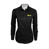 Ladies Black Twill Button Down Long Sleeve-MSSU Lions w/Lion Head