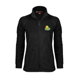 Ladies Fleece Full Zip Black Jacket-MSSU Lions w/Lion Head On Top