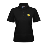 Ladies Black Dry Mesh Polo-Lion Head