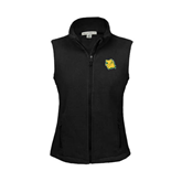 Ladies Fleece Full Zip Black Vest-Lion Head