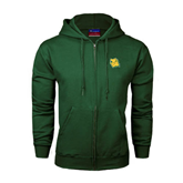 Dark Green Fleece Full Zip Hoodie-Lion Head