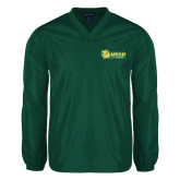 V Neck Dark Green Raglan Windshirt-MSSU Lions w/Lion Head