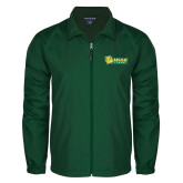 Full Zip Dark Green Wind Jacket-MSSU Lions w/Lion Head