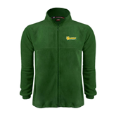 Fleece Full Zip Dark Green Jacket-MSSU Lions w/Lion Head