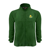 Fleece Full Zip Dark Green Jacket-MSSU Lions w/Lion Head On Top