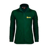Ladies Fleece Full Zip Dark Green Jacket-MSSU Lions w/Lion Head