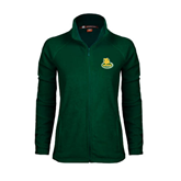 Ladies Fleece Full Zip Dark Green Jacket-MSSU Lions w/Lion Head On Top