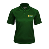 Ladies Dark Green Textured Saddle Shoulder Polo-MSSU Lions w/Lion Head