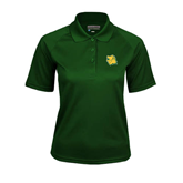 Ladies Dark Green Textured Saddle Shoulder Polo-Lion Head