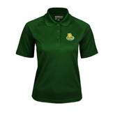 Ladies Dark Green Textured Saddle Shoulder Polo-MSSU Lions w/Lion Head On Top