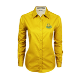 Ladies Gold Twill Button Down Long Sleeve-MSSU Lions w/Lion Head On Top
