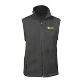 Fleece Full Zip Charcoal Vest-MSSU Lions w/Lion Head