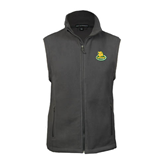 Fleece Full Zip Charcoal Vest-MSSU Lions w/Lion Head On Top