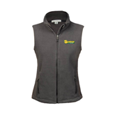 Ladies Fleece Full Zip Steel Grey Vest-MSSU Lions w/Lion Head