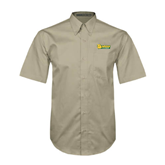 Khaki Twill Button Down Short Sleeve-MSSU Lions w/Lion Head