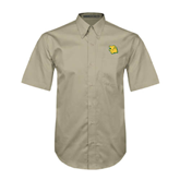 Khaki Twill Button Down Short Sleeve-Lion Head