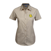 Ladies Khaki Twill Button Up Short Sleeve-Lion Head