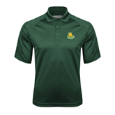 Dark Green Textured Saddle Shoulder Polo-MSSU Lions w/Lion Head On Top