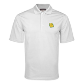 White Mini Stripe Polo-Lion Head