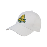White Heavyweight Twill Pro Style Hat-MSSU Lions w/Lion Head On Top