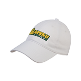 White Twill Unstructured Low Profile Hat-MSSU Lions w/Lion Head