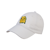 White Twill Unstructured Low Profile Hat-Lion Head
