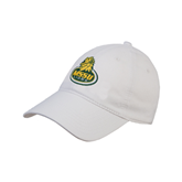 White Twill Unstructured Low Profile Hat-MSSU Lions w/Lion Head On Top