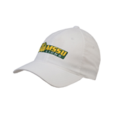 White OttoFlex Unstructured Low Profile Hat-MSSU Lions w/Lion Head