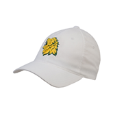 White OttoFlex Unstructured Low Profile Hat-Lion Head