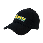 Black Twill Unstructured Low Profile Hat-MSSU Lions w/Lion Head