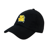 Black Twill Unstructured Low Profile Hat-Lion Head