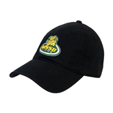 Black Twill Unstructured Low Profile Hat-MSSU Lions w/Lion Head On Top