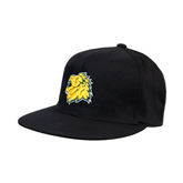 Black OttoFlex Flat Bill Pro Style Hat-Lion Head