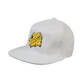 White OttoFlex Flat Bill Pro Style Hat-Lion Head