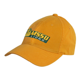 Gold Twill Unstructured Low Profile Hat-MSSU Lions w/Lion Head