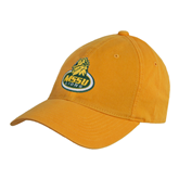 Gold Twill Unstructured Low Profile Hat-MSSU Lions w/Lion Head On Top
