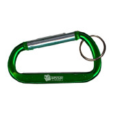 Green Carabiner with Split Ring-MSSU w/Lion Head Engraved