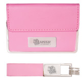 Business Card Case and Key Ring Set Pink-MSSU w/Lion Head Engraved